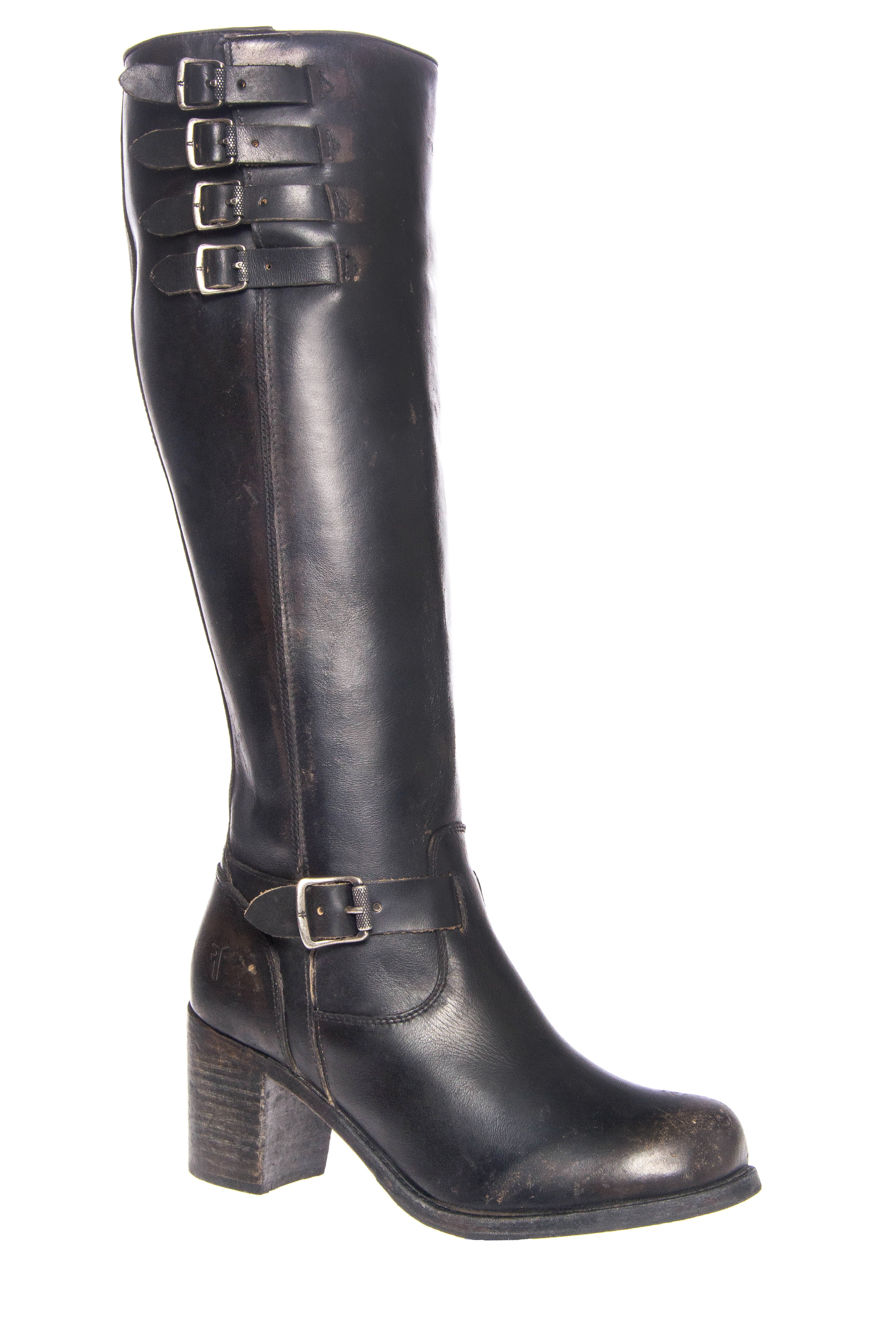 Frye Kelly Belted Tall Mid Heel Boots - Black
