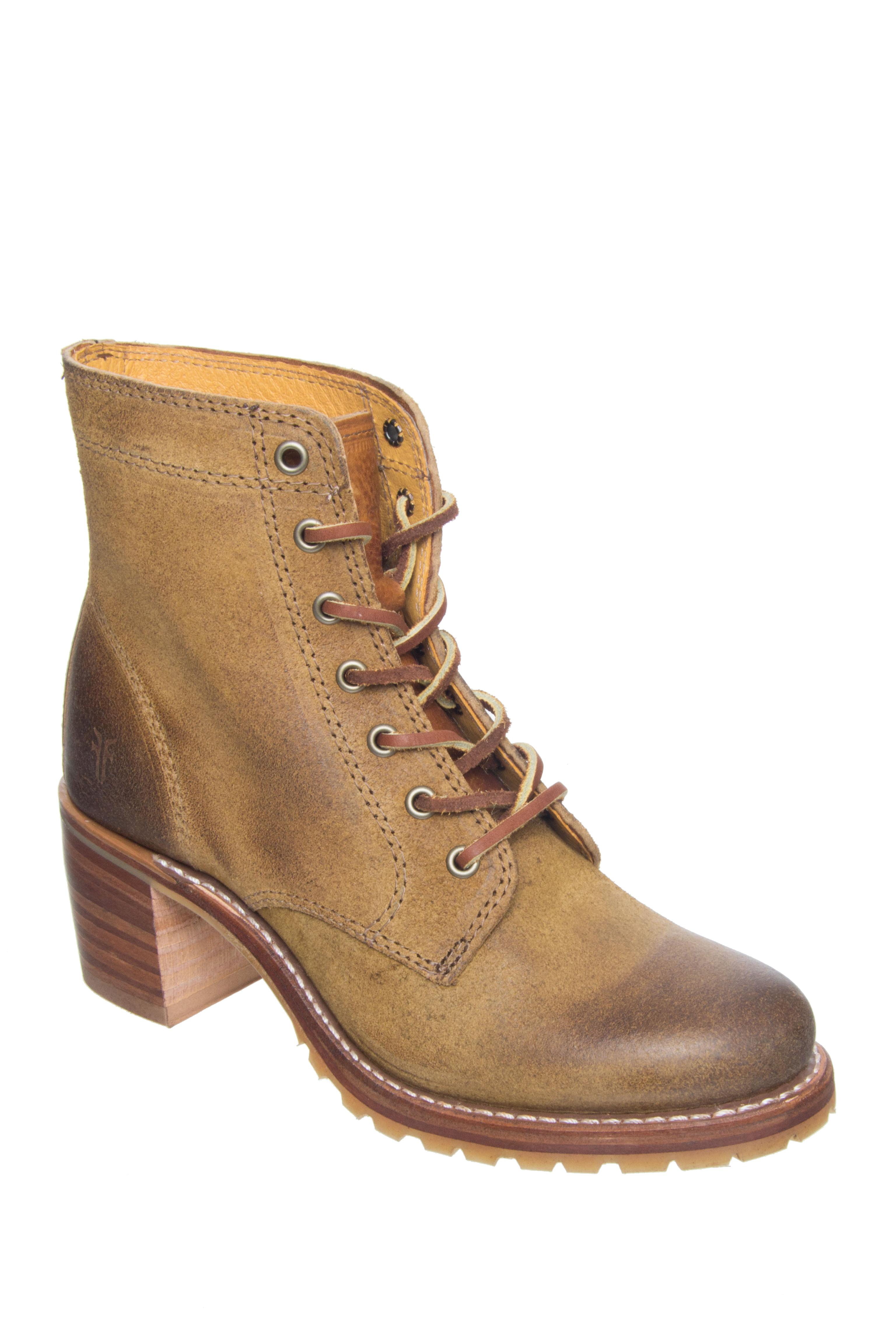Frye Sabrina 6G Lace Up Boots - Tan