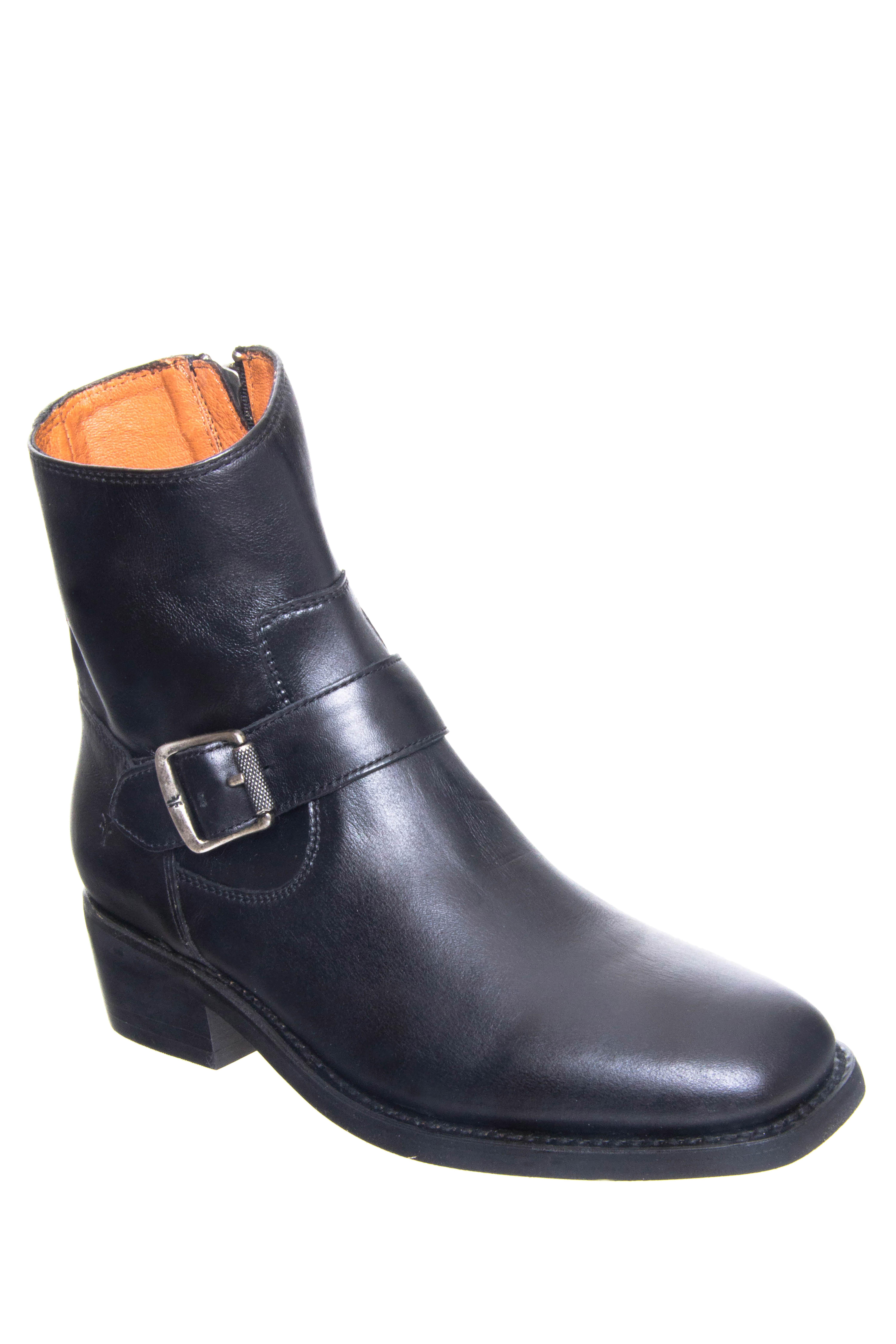 Frye Hannah Engineer Mid Heel Boots - Black