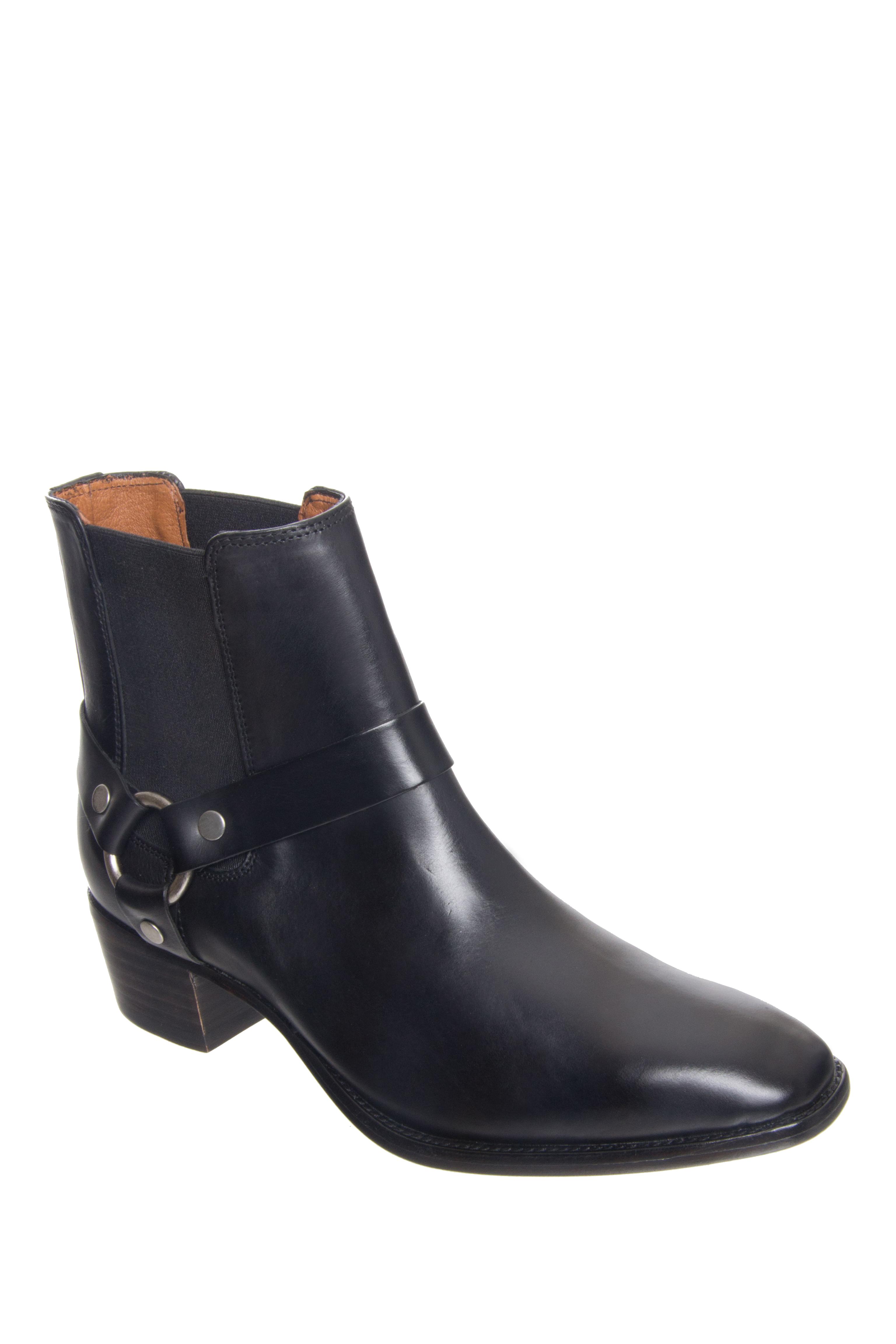 Frye Dara Harness Chelsea Mid Heel Boots - Black