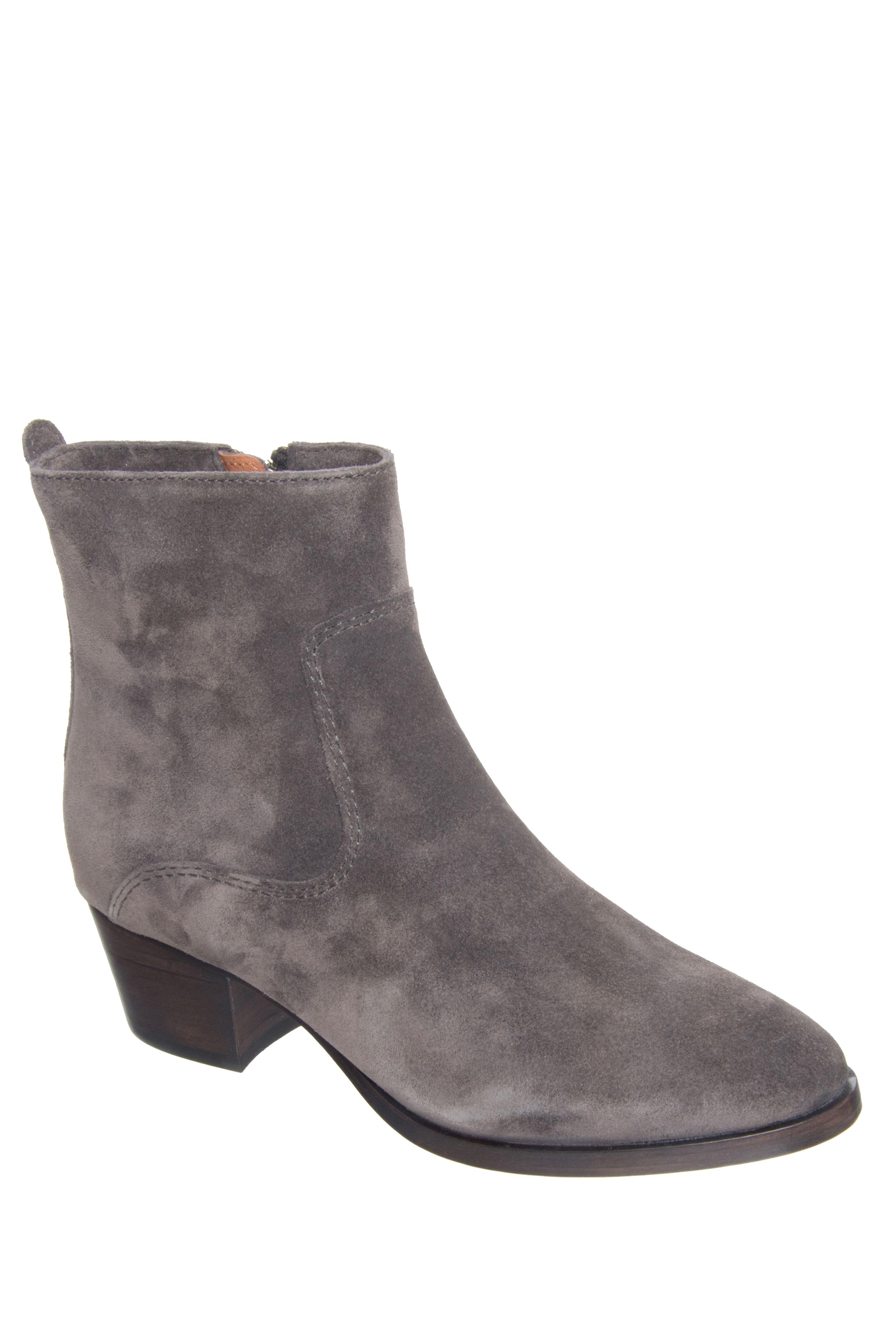 Frye Clara Zip Short Mid Heel Boots - Smoke