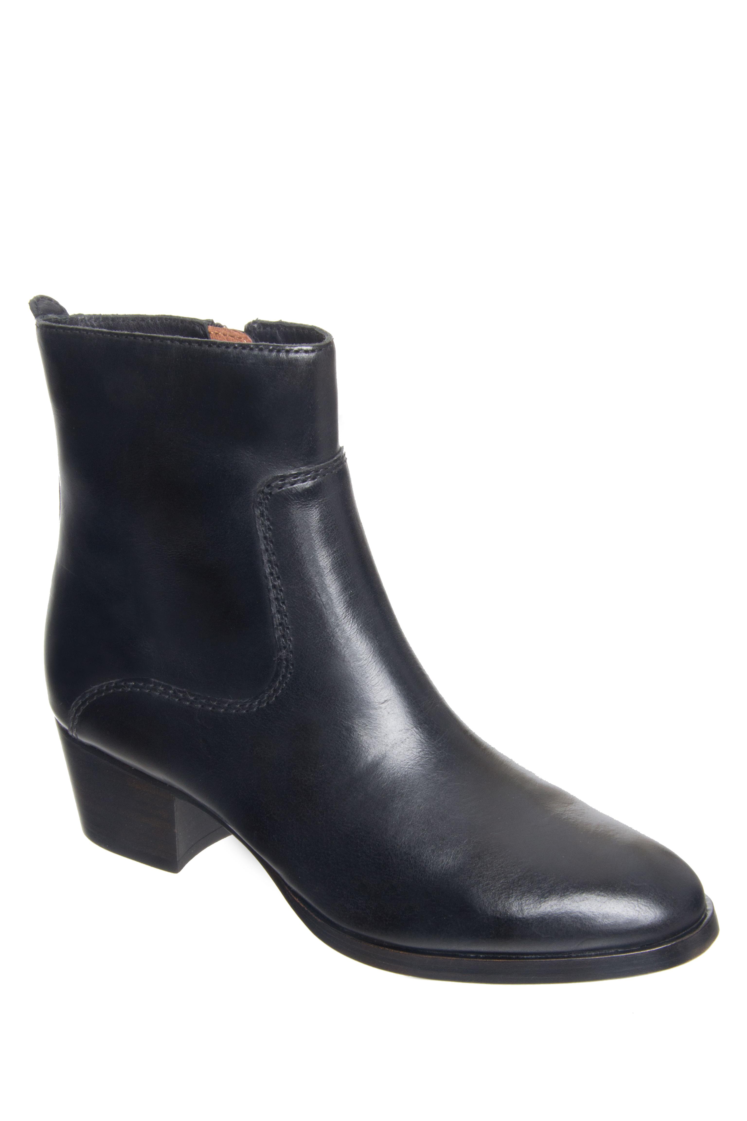Frye Clara Zip Short Mid Heel Boots - Black