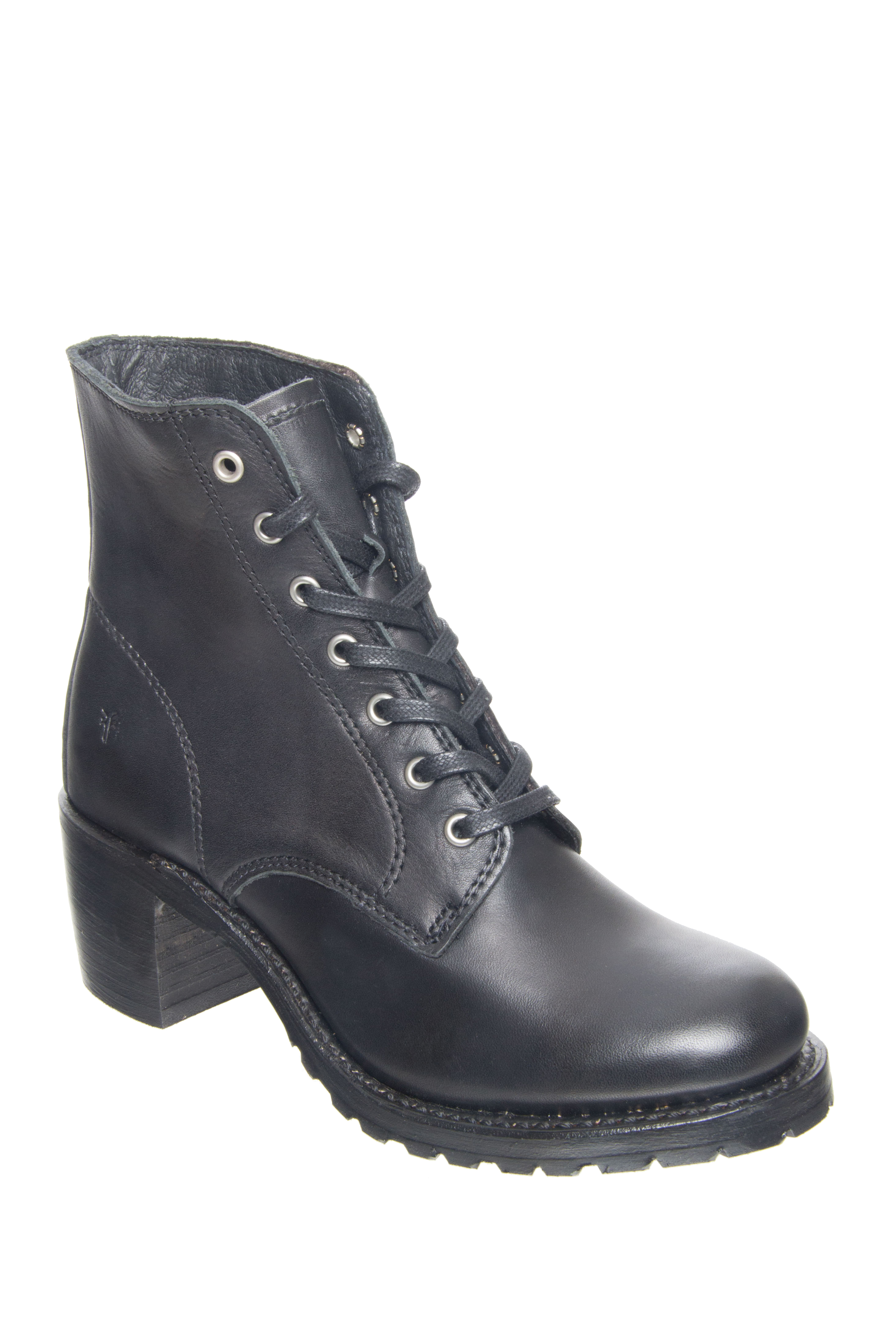 Frye Sabrina 6G Lace Up Boots - Black