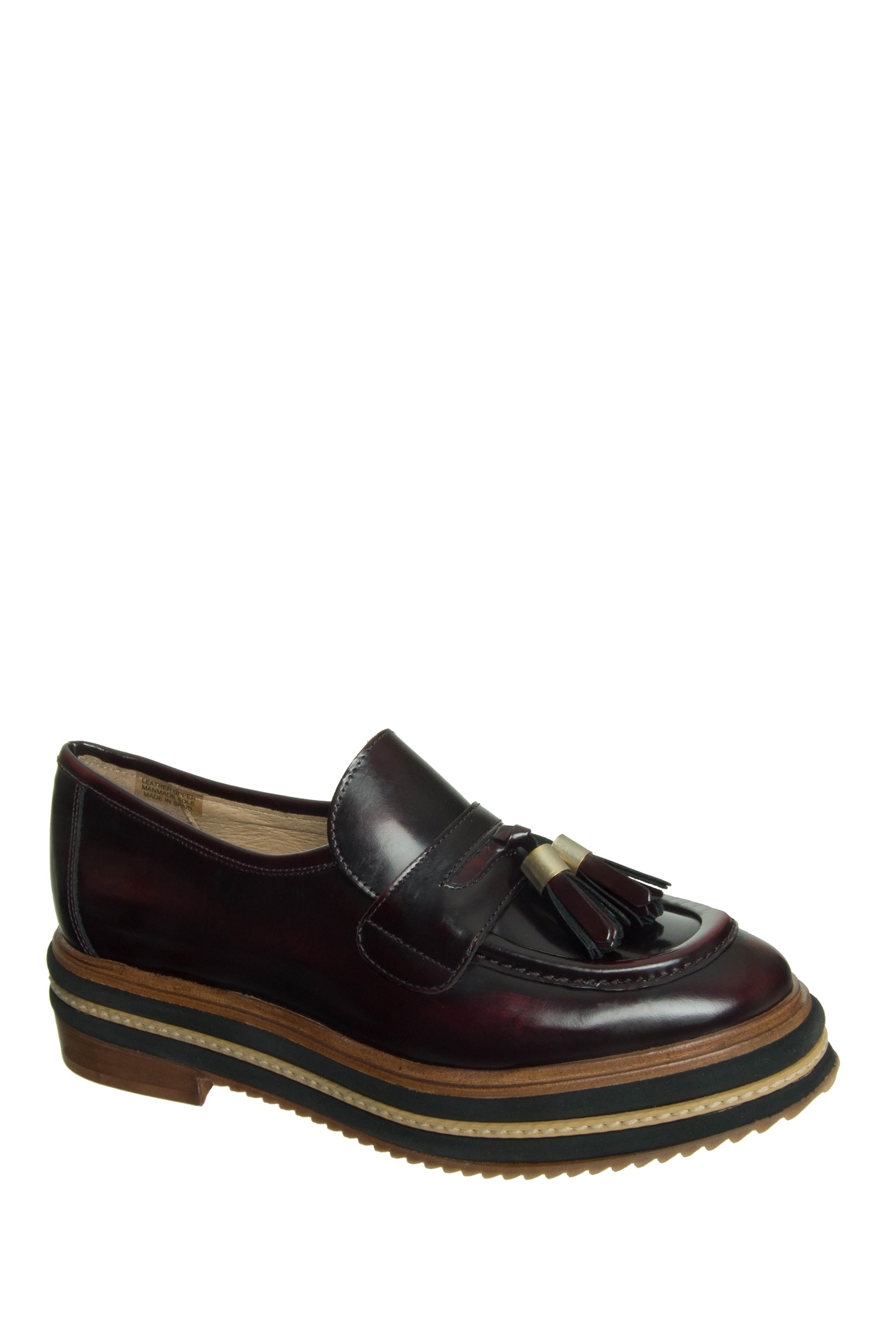 Shellys London Karena Platform Loafers - Burgundy