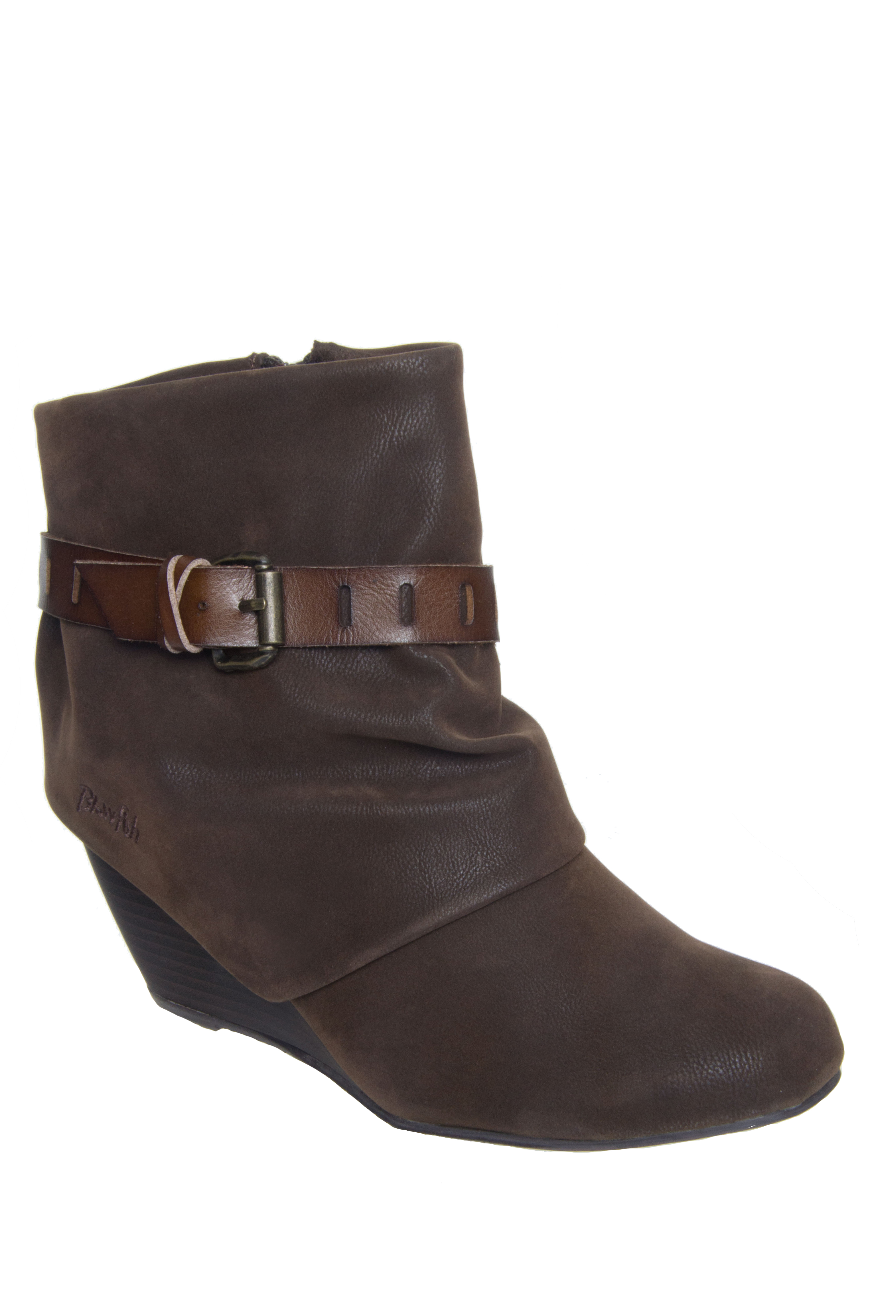Blowfish Beryl Mid Wedge Booties - Dark Brown