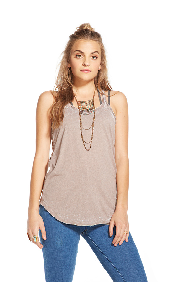 Chaser Open Back Raw Edge Tank - Owl