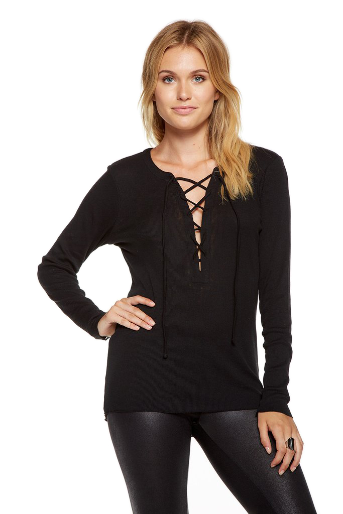 Chaser Lace Front Rib Hi-Low Long Sleeve Tee - Black