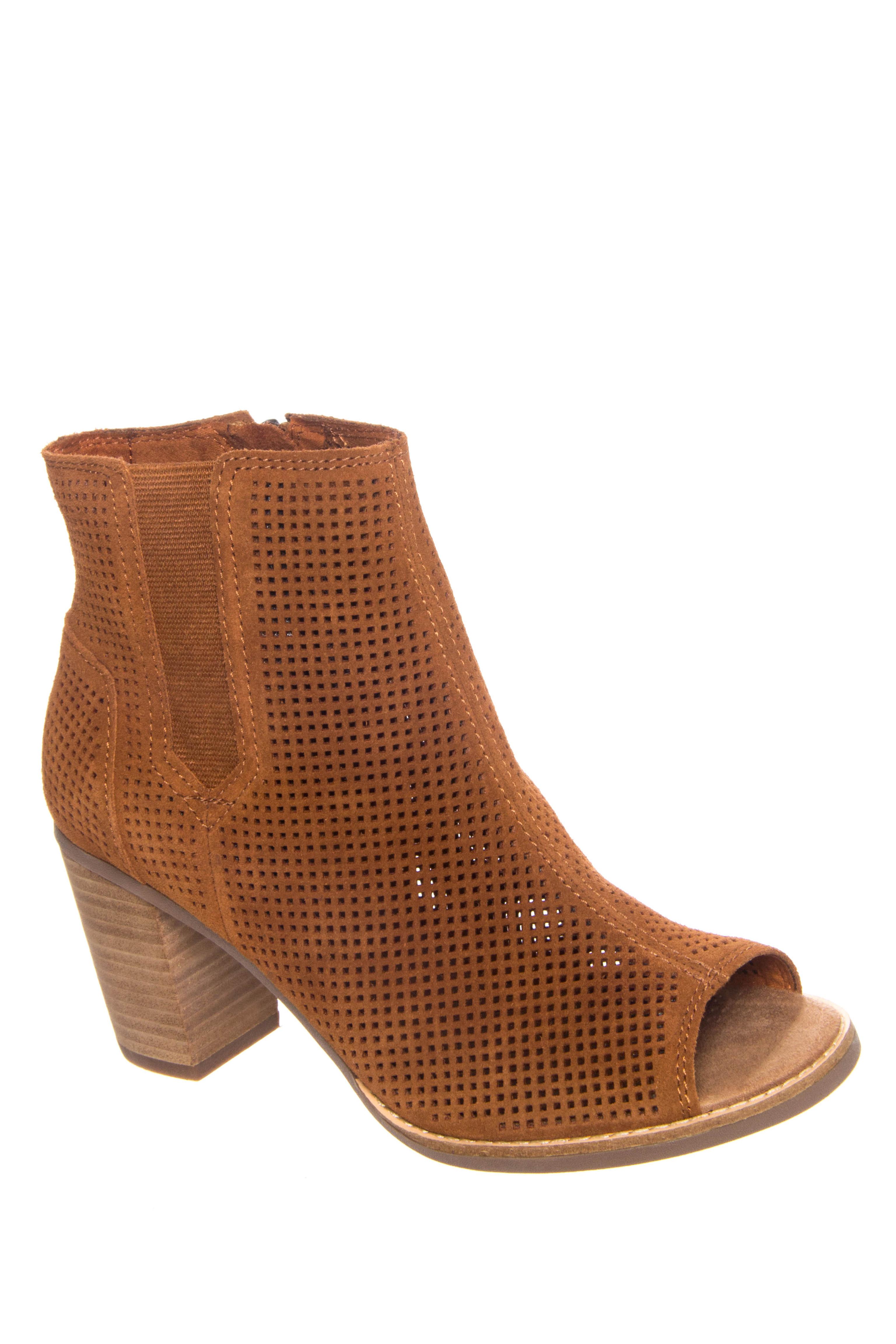 TOMS Majorca Peep Toe Booties - Cinnamon