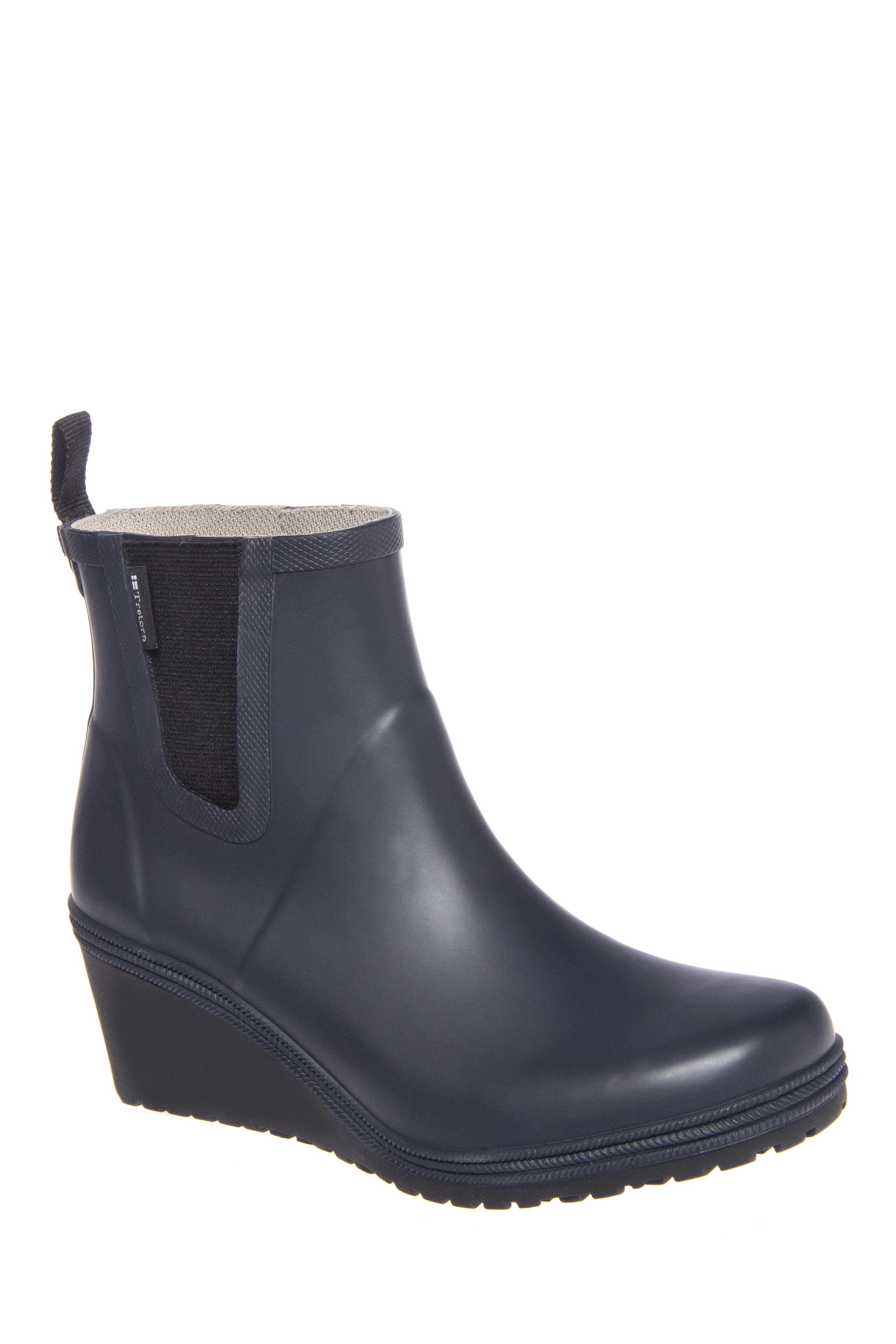Tretorn Emma Mid Wedge Rain Boots - Navy