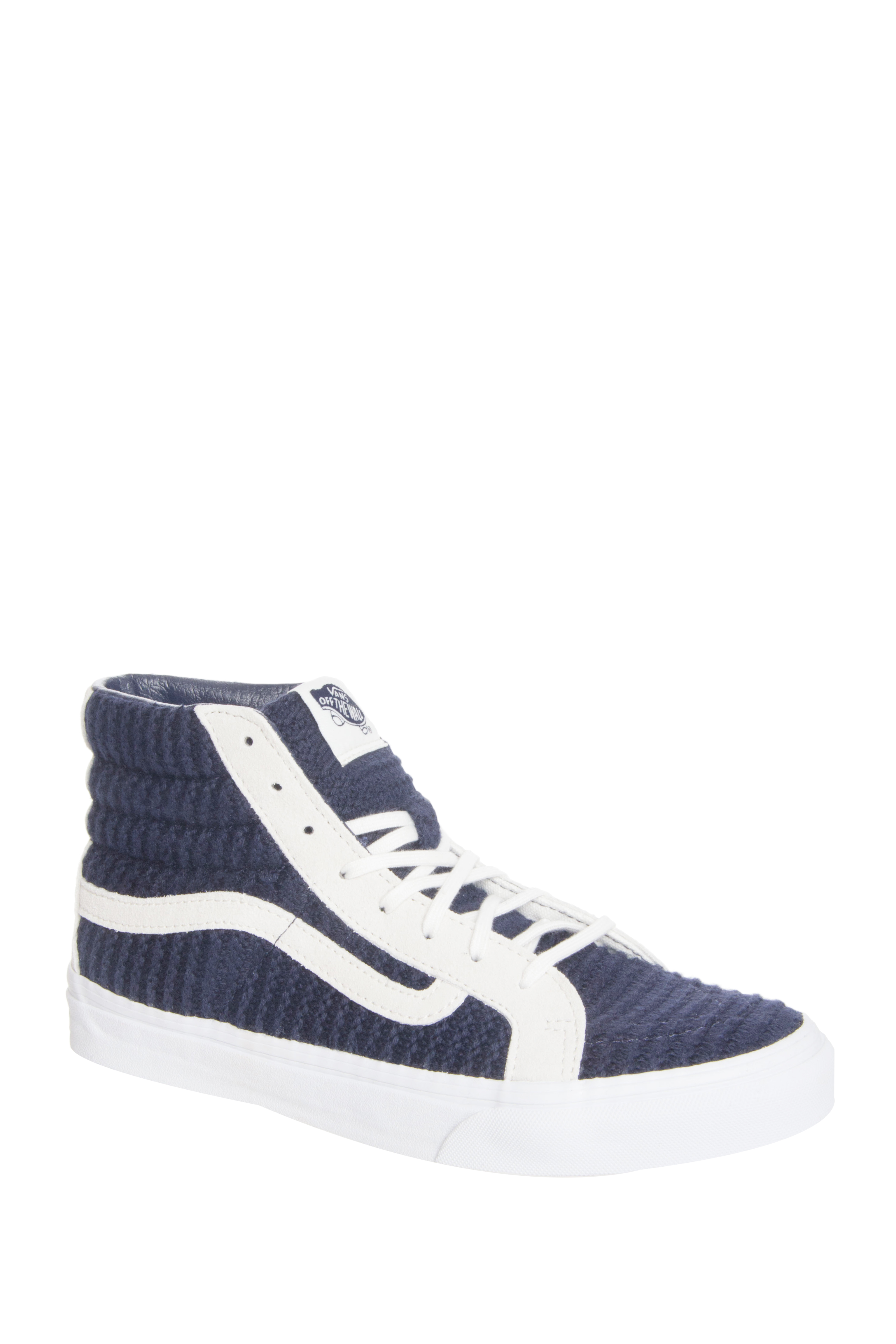 Vans Sk8-Hi Slim Woven Suede High Top Sneakers - Navy Blue / True White