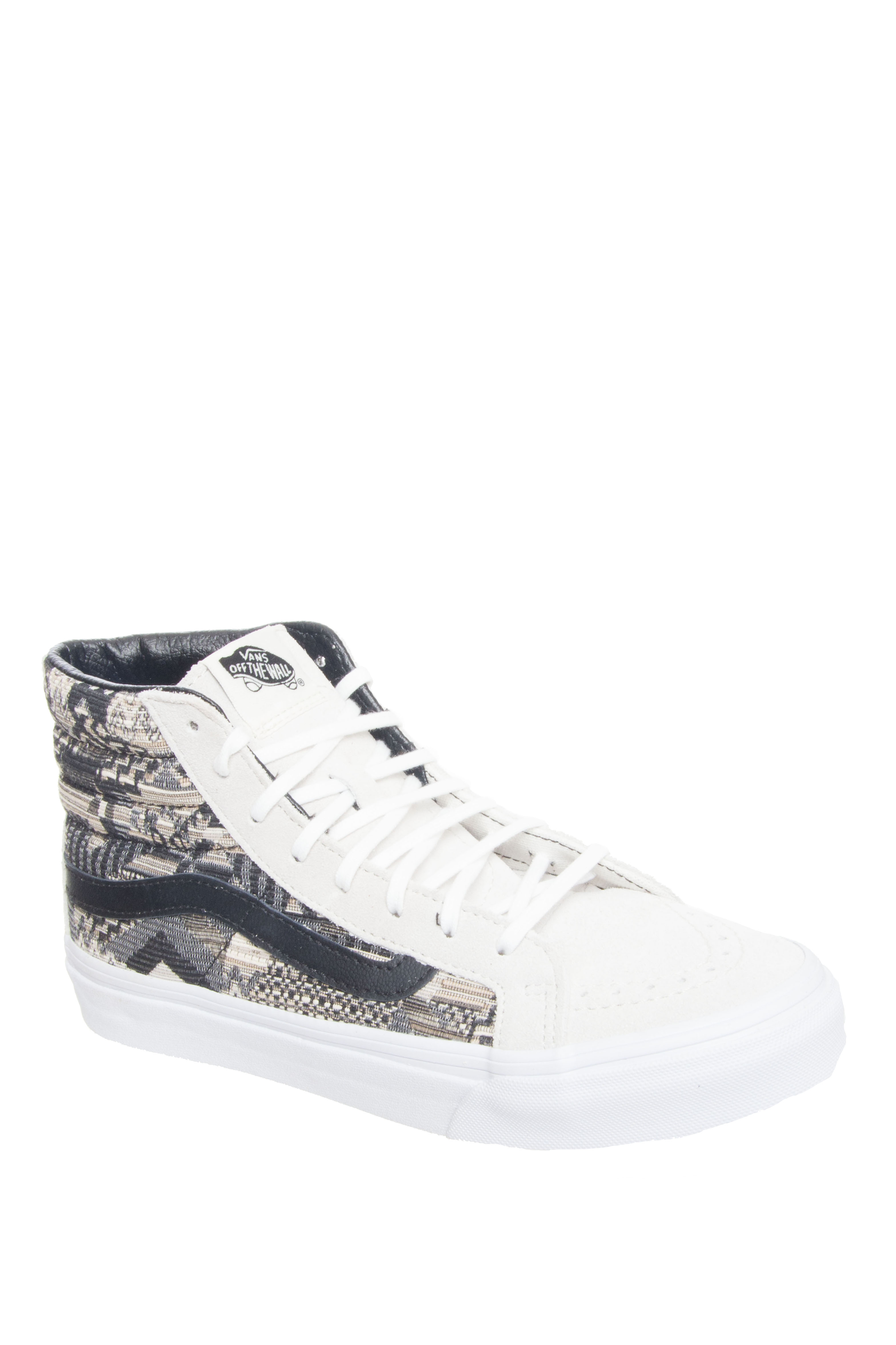 Vans Unisex SK8-Hi Slim Italian Weave Mid Top Sneakers - White / Black