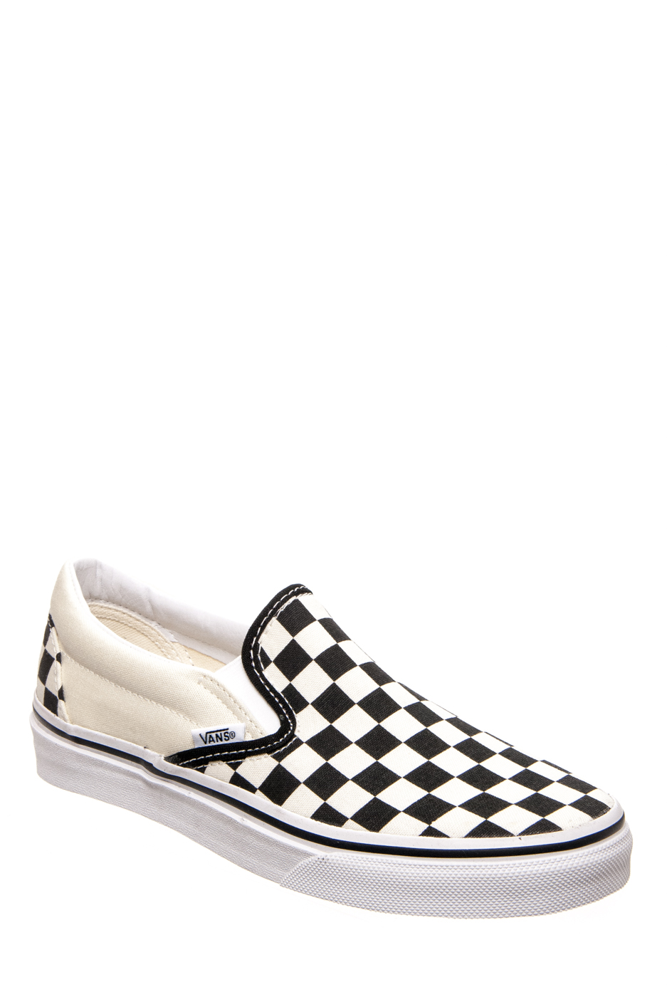 Vans Unisex Classic Slip-On Checkerboard Sneakers - Black / White / Checkerboard
