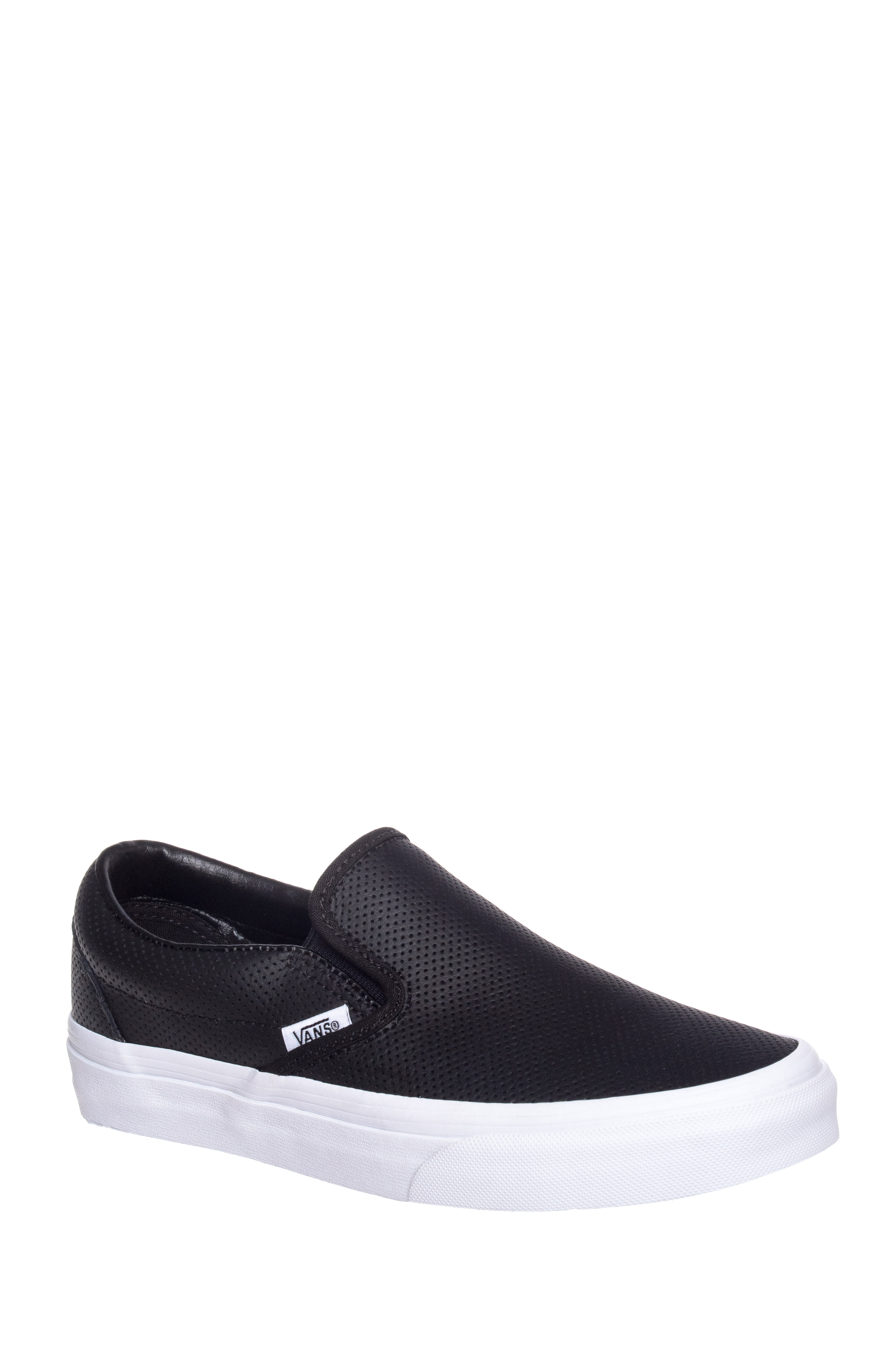 Vans Unisex Classic Perforated Leather Slip On Sneakers - Black