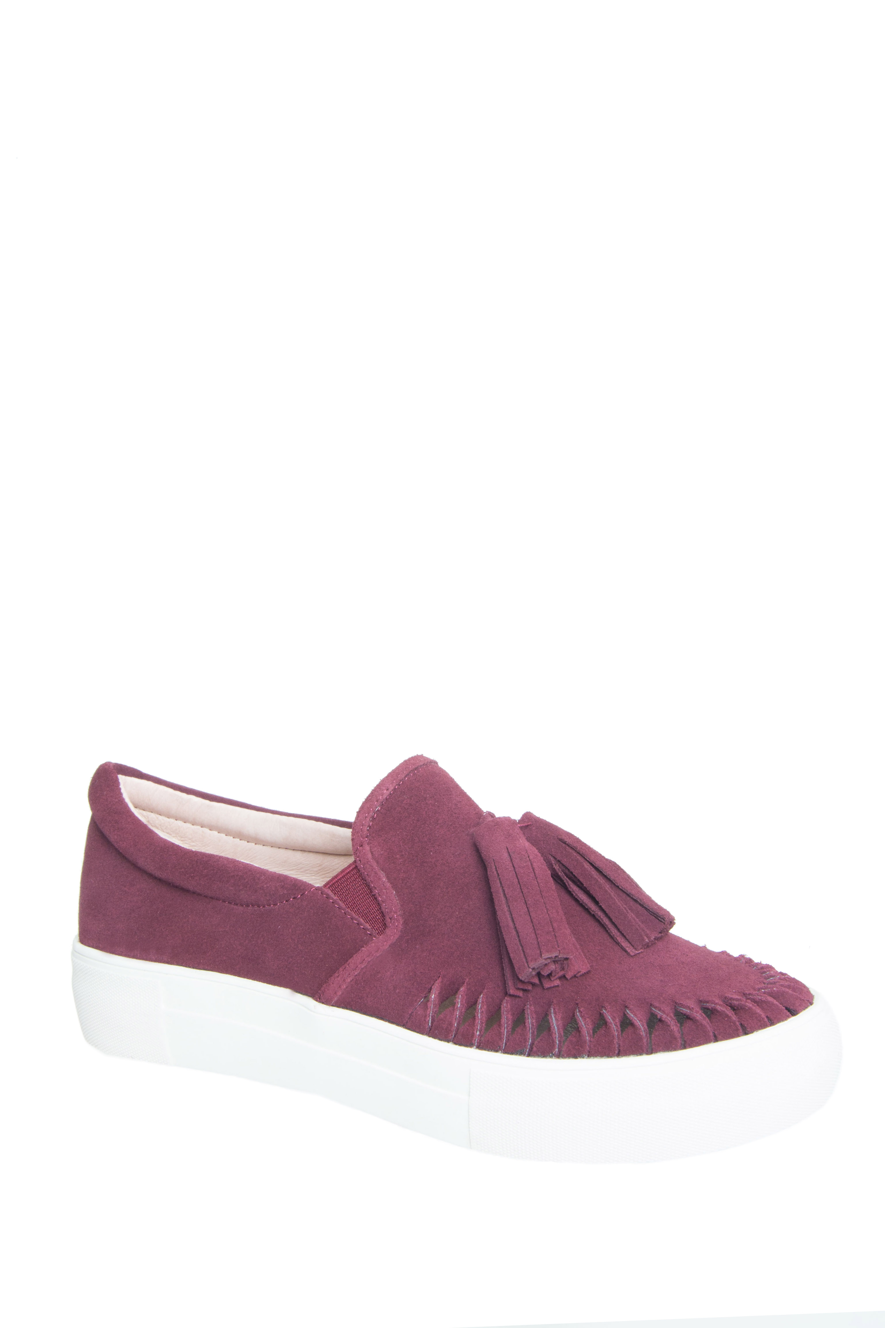 J/Slides Aztec Low Top Slip-On Platform Sneakers - Burgundy Suede