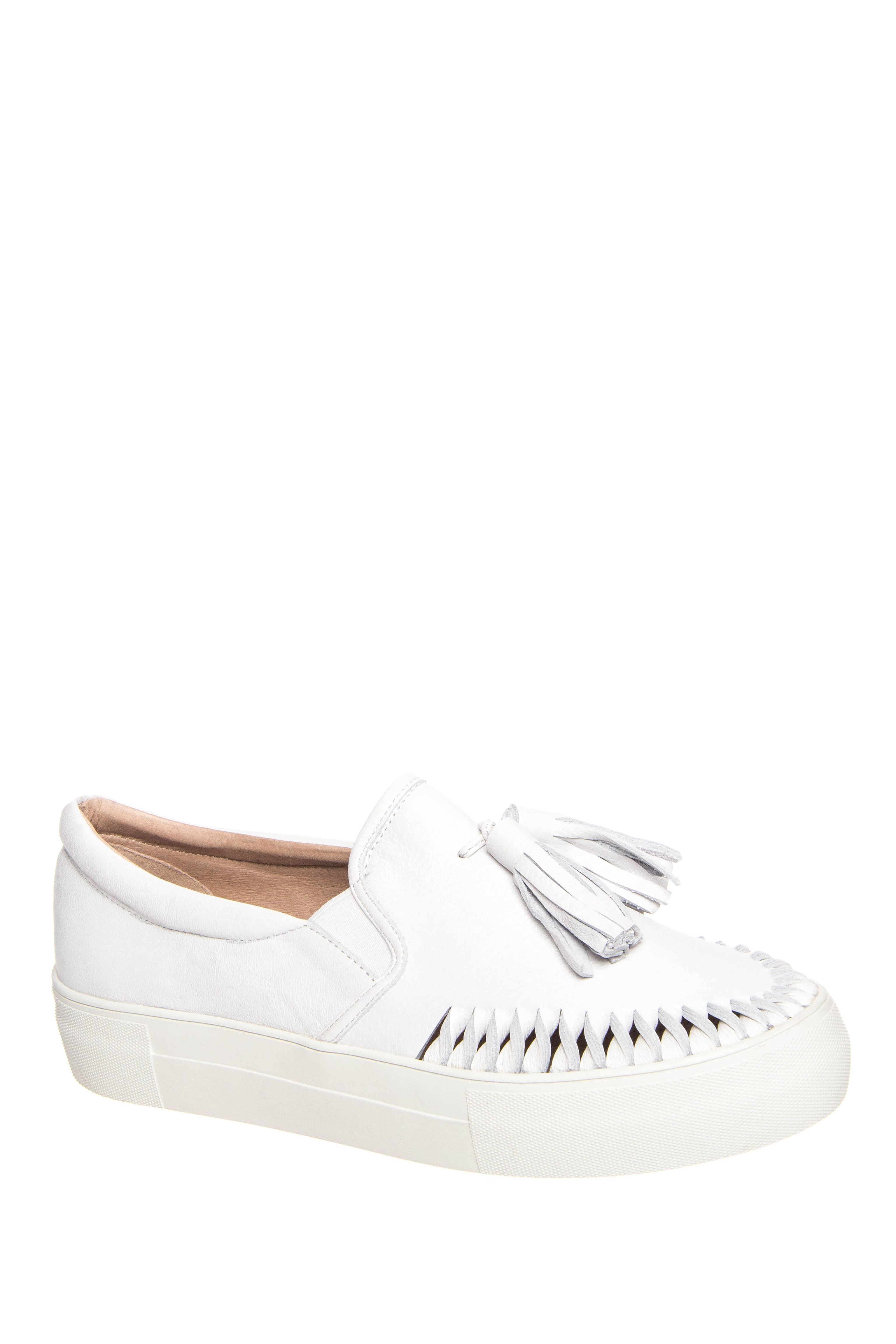 J/SLIDES Aztec Slip On Platform Sneakers - White