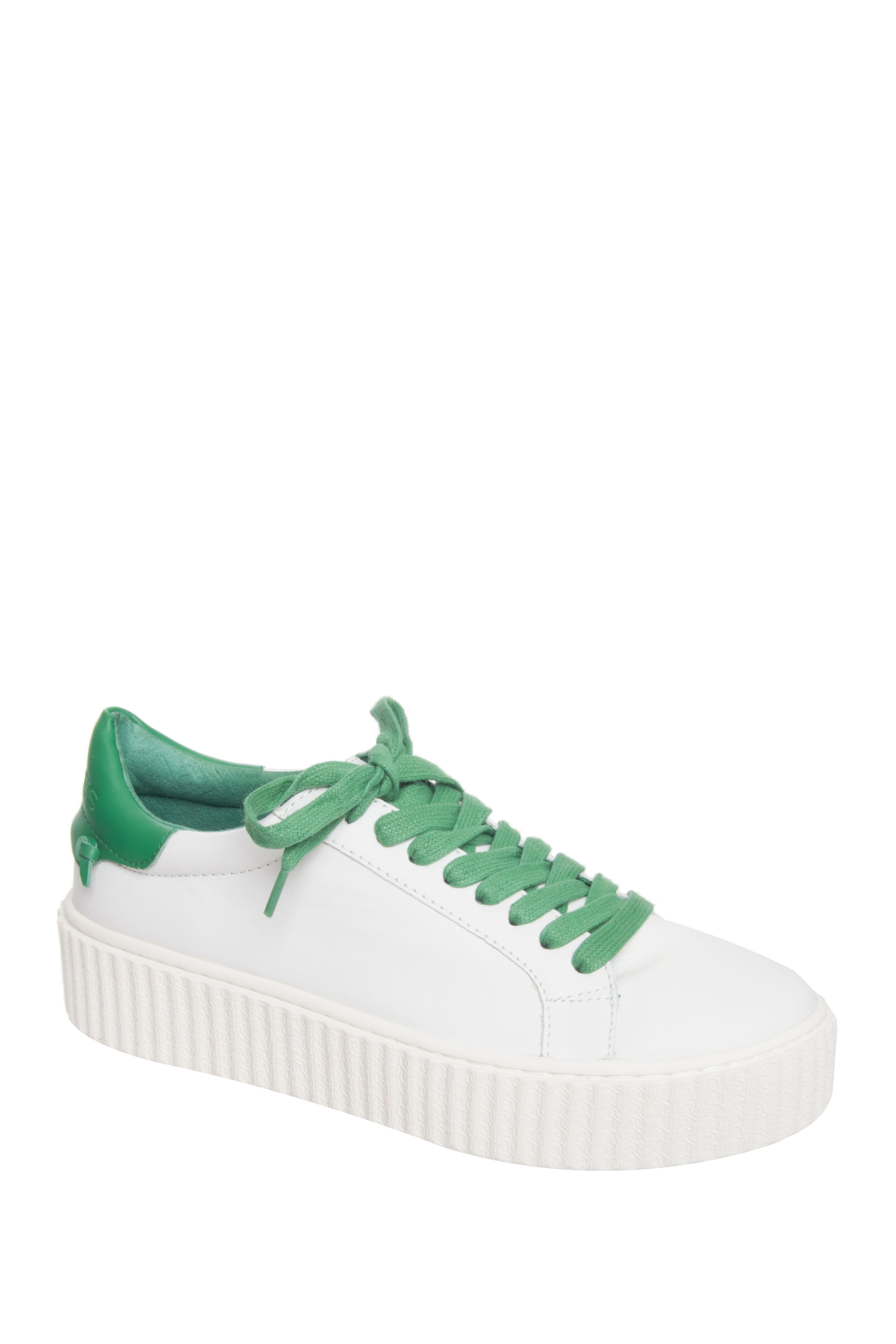 J Slides Parker Low Top Platform Sneakers - White / Green Leather