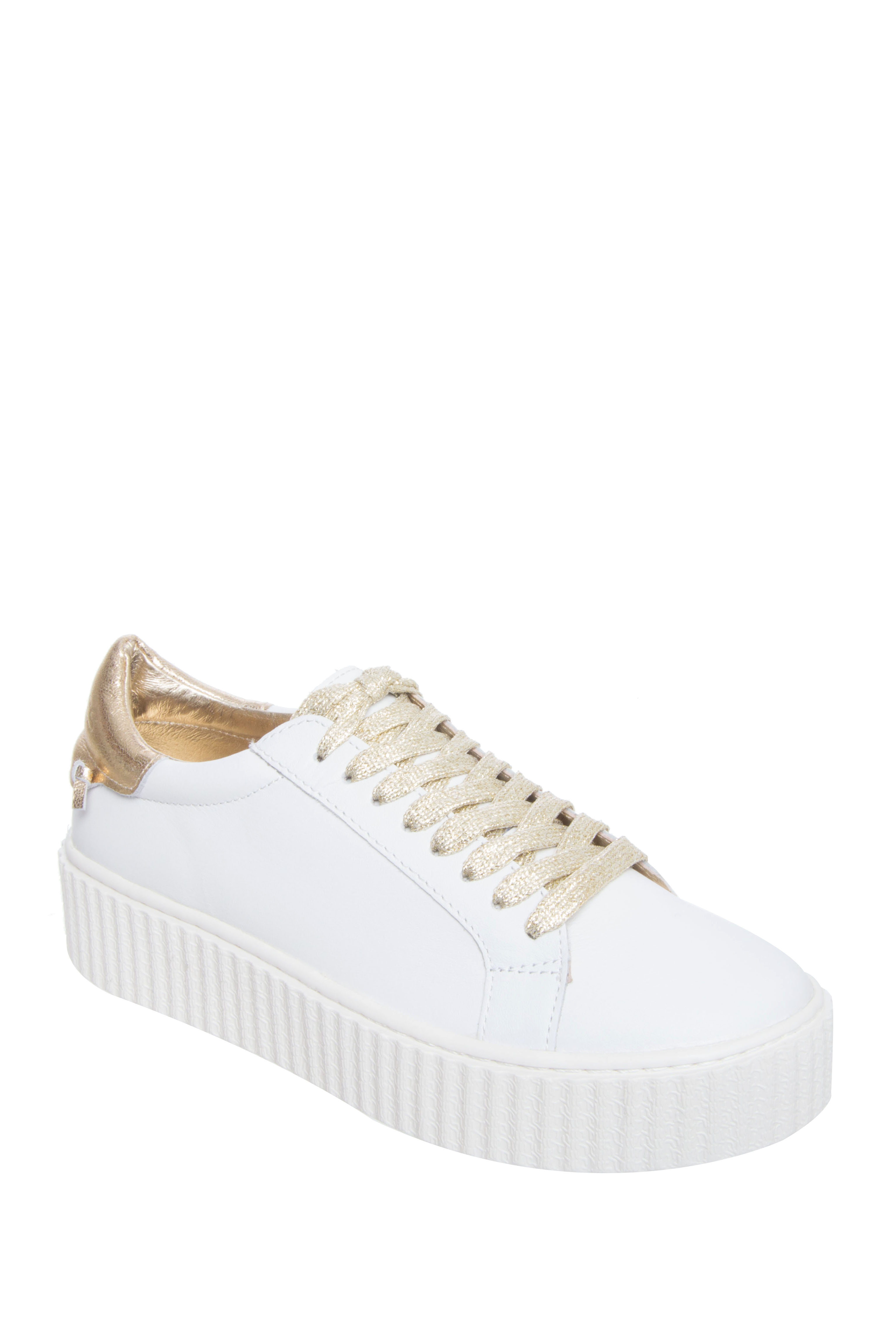 J Slides Parker Low Top Platform Sneakers - White / Platino Leather