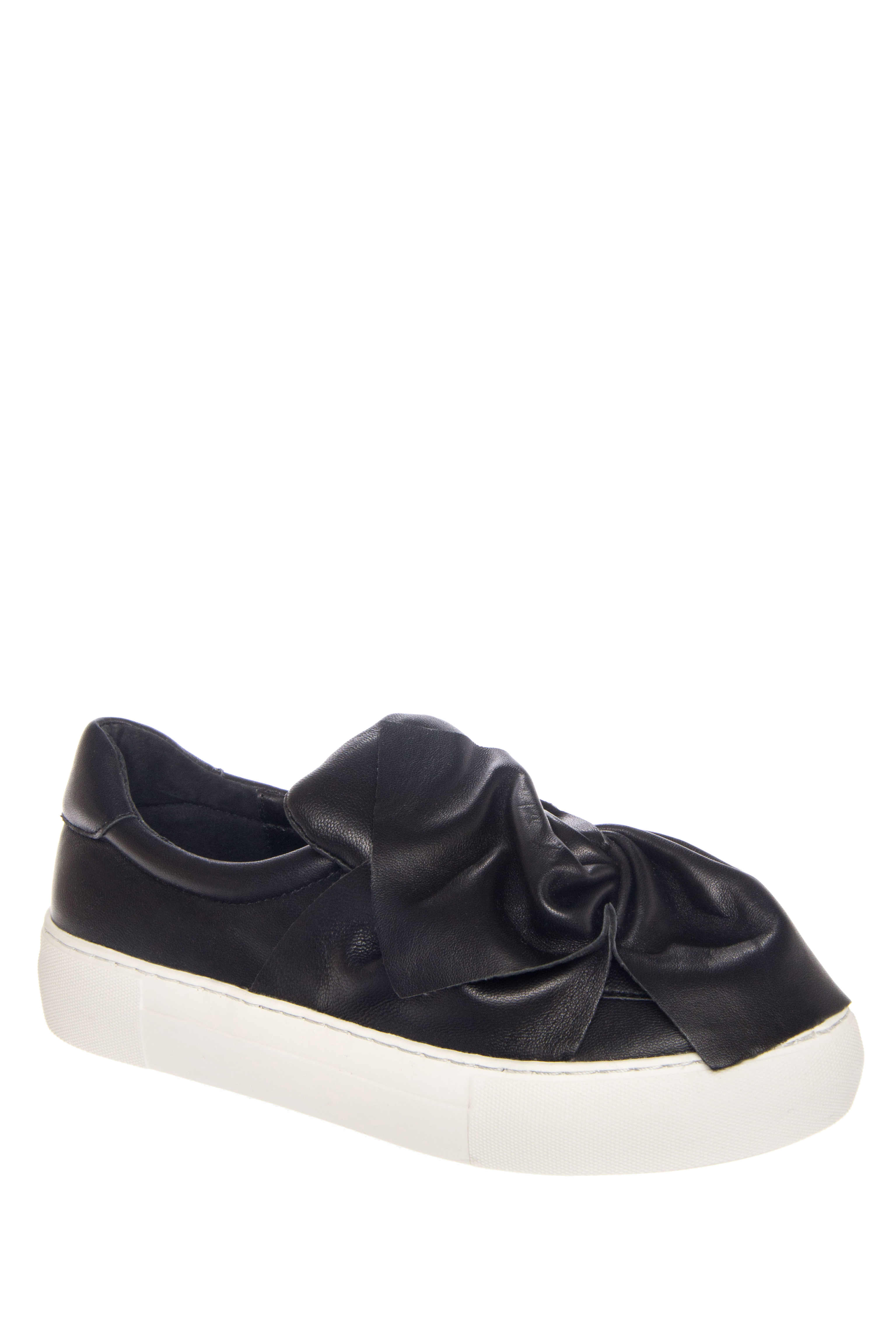 J/SLIDES Annabelle Leather Bow Platform Sneakers - Black