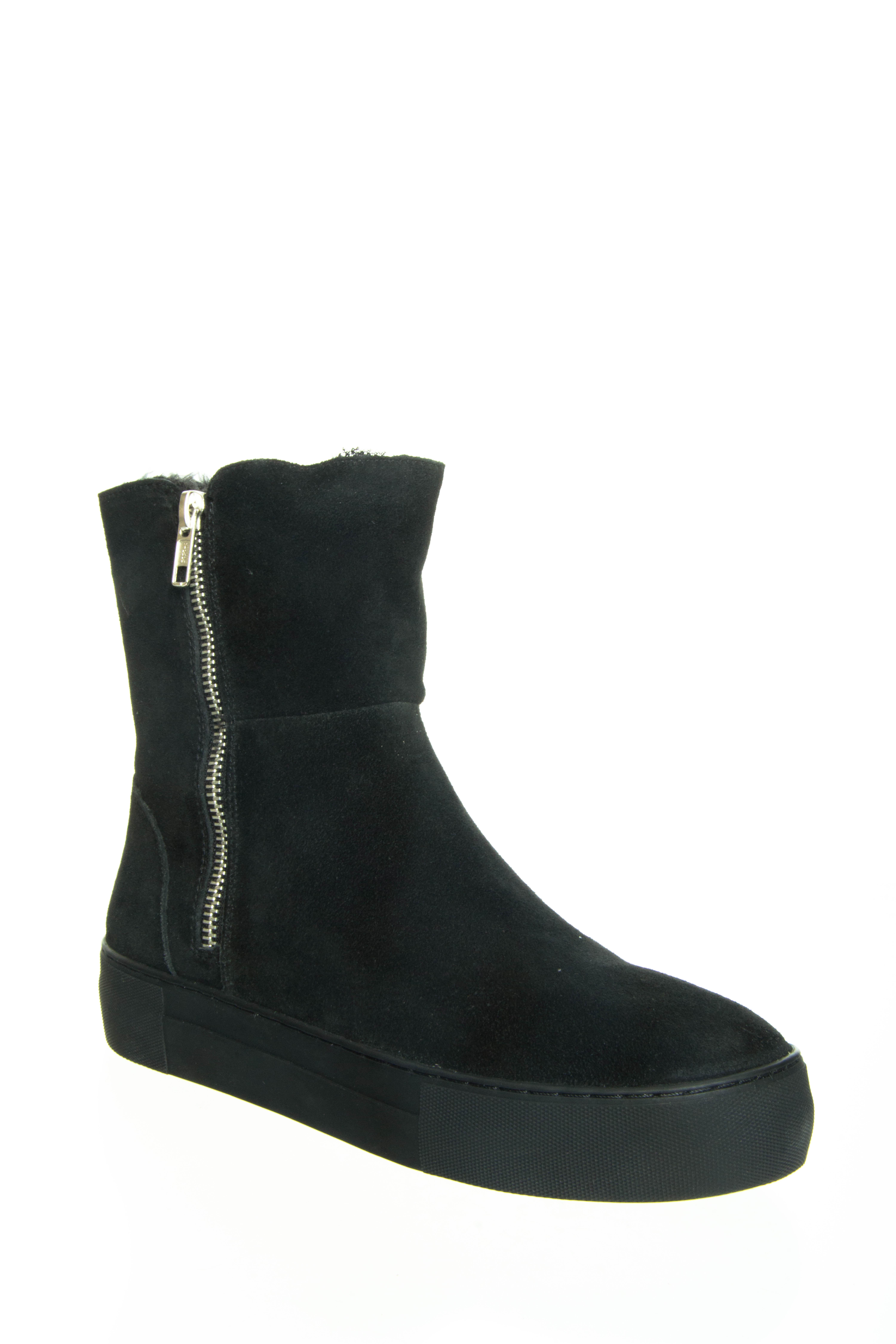 J Slides Allie Platform Boots - Black Suede