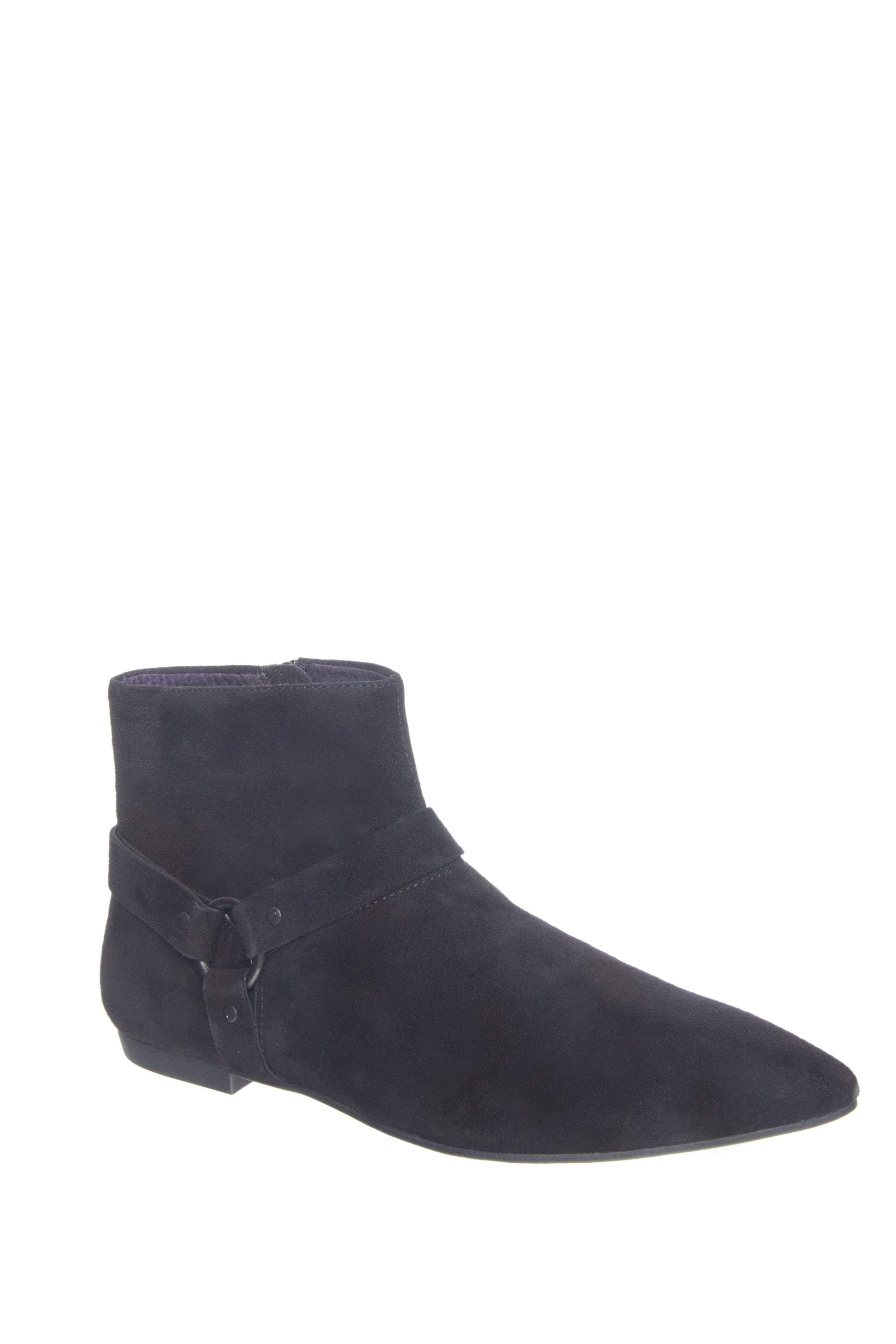 Vagabond Katlin Pointed-Toe Low Heel Booties - Black Suede