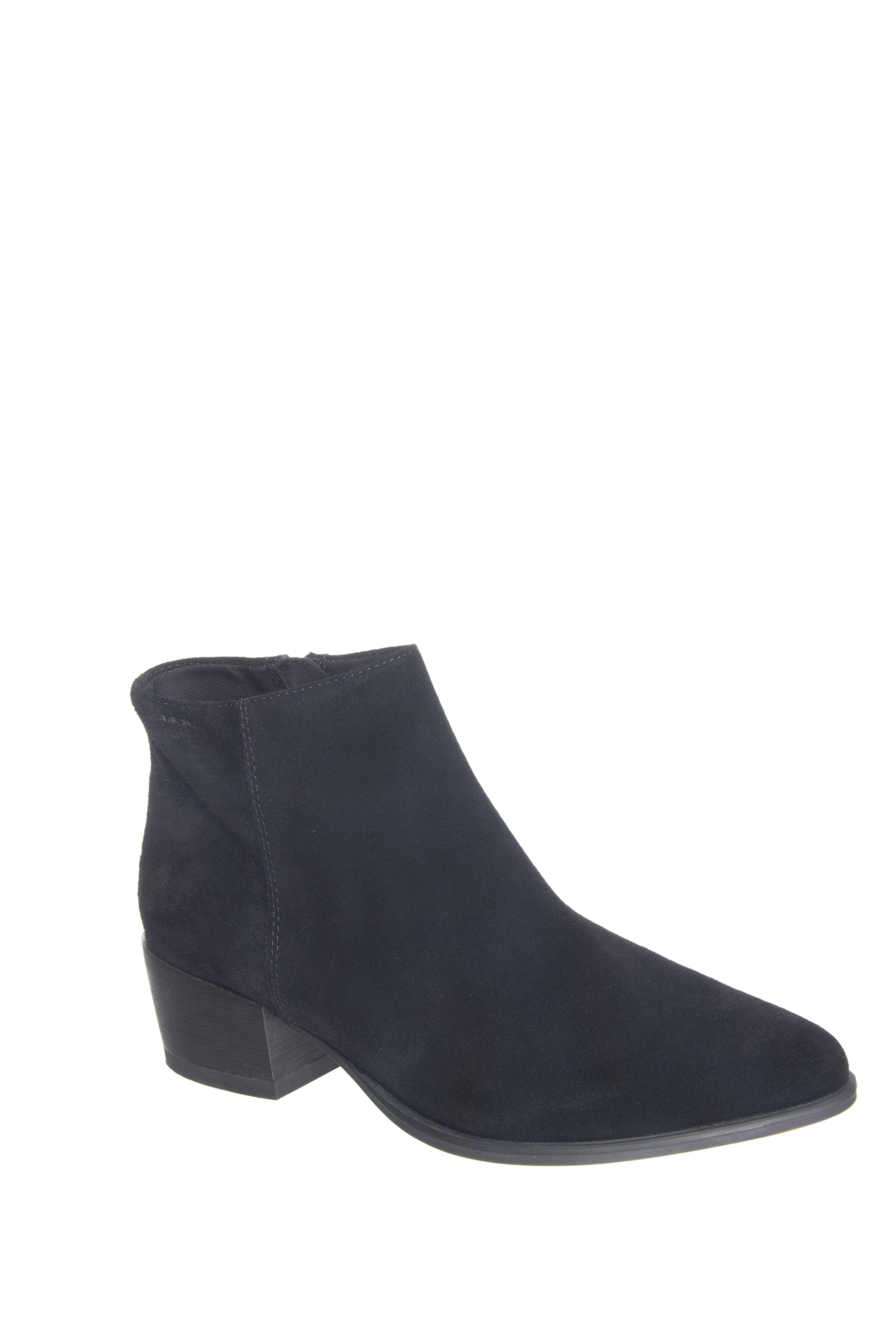 Vagabond Marja Mid Heel Pointed-Toe Zip Booties - Black Suede