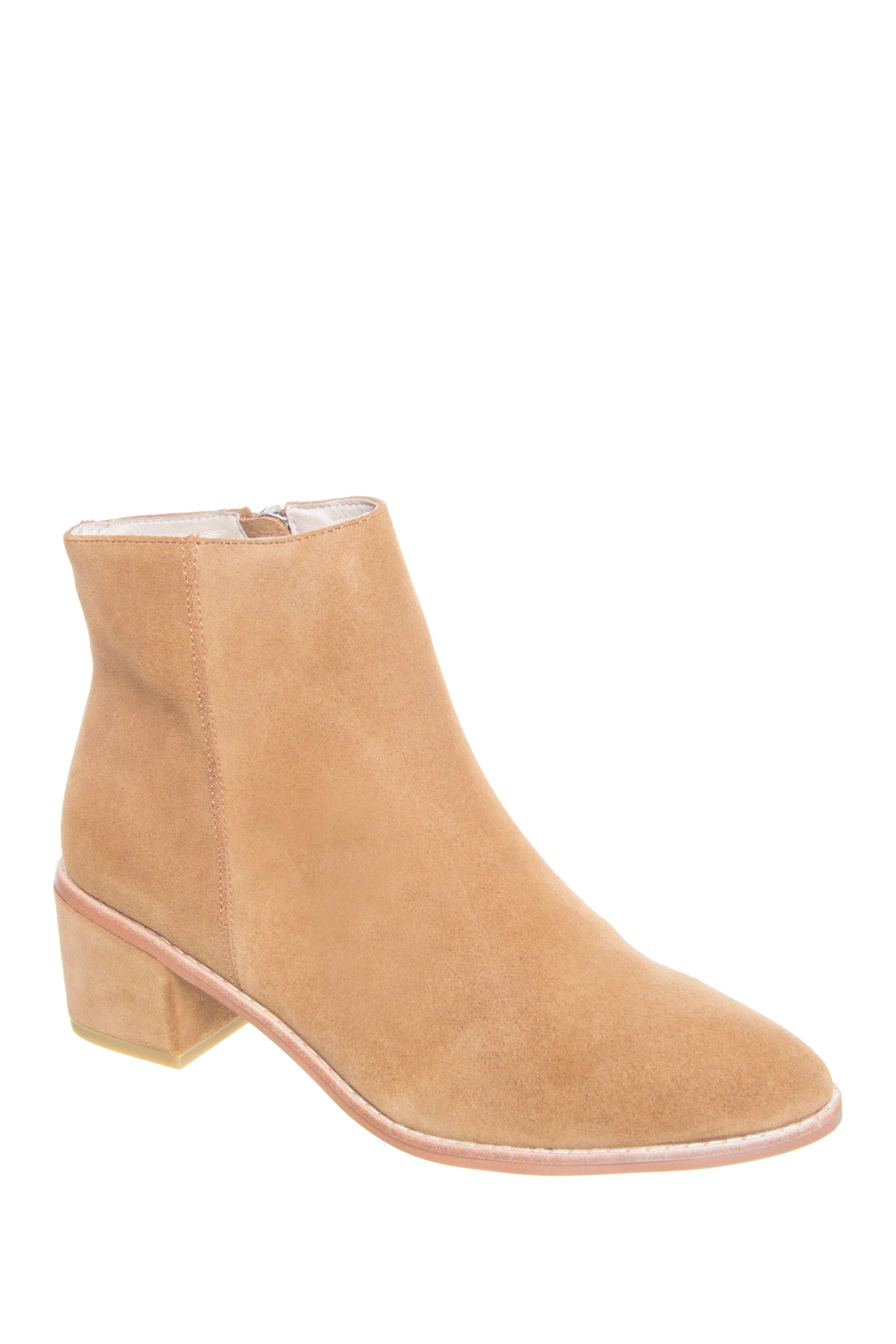 Sol Sana Miles Zip Up Booties - Cognac Suede