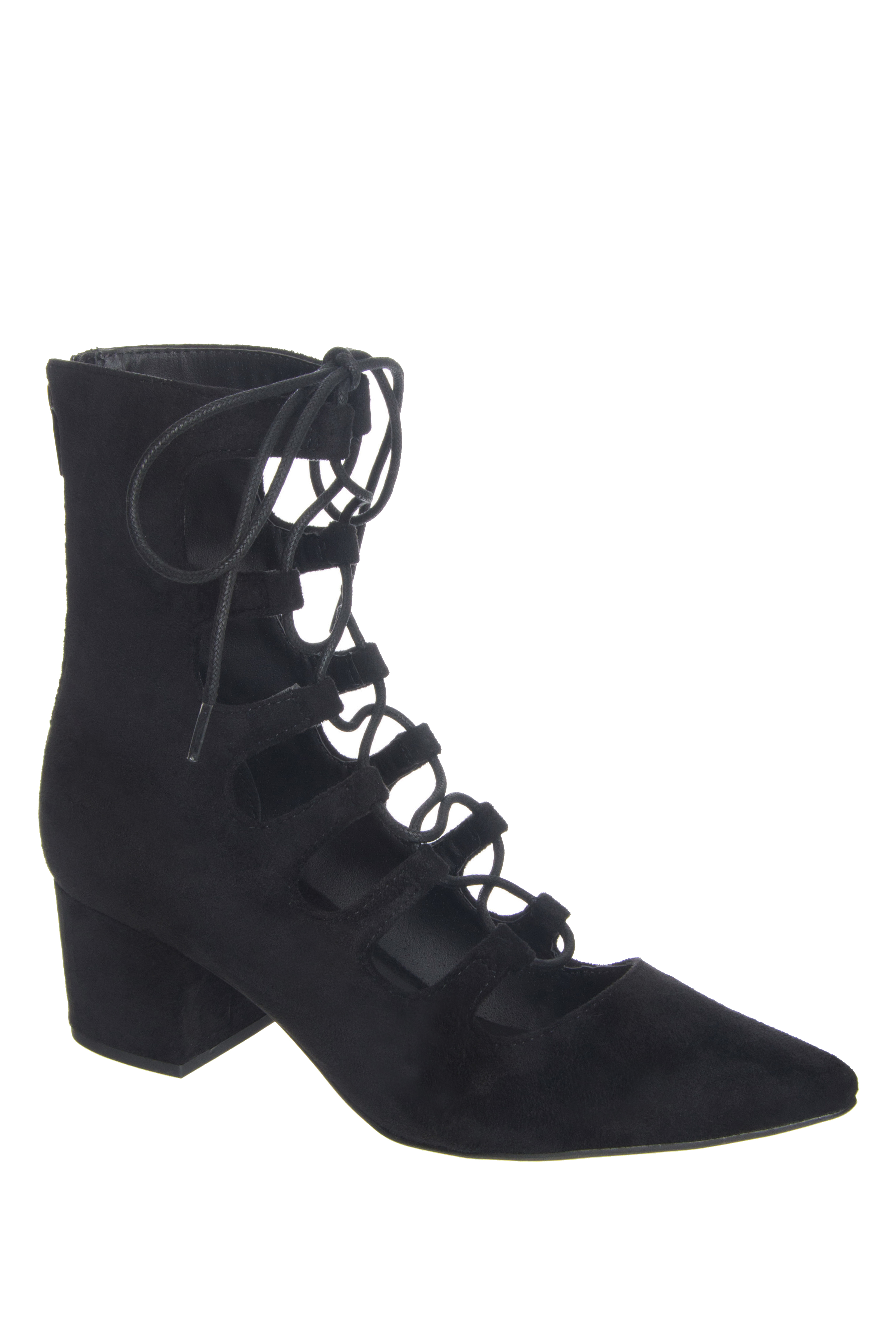 Coconuts by Matisse Sonia Mid Heel Lace Up Booties - Black