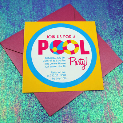 Invitation Template – Pool Party with Beach Ball Design