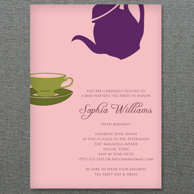 Tea Party Invitation Template with Teapot & Teacup
