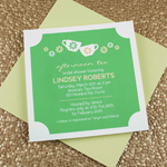Tea Party Invitation Template with Teacups & Flowers