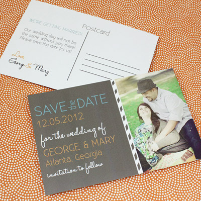 Save the Date Postcard Template with Photo & Chalkboard Type