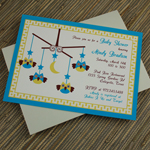 Baby Shower Invitation Template: Baby Boy Owl Mobile
