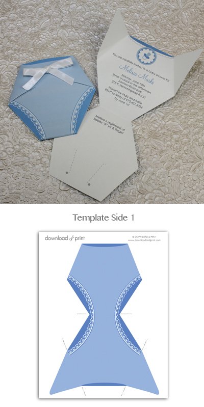 Baby Shower Invitation Template: Baby Boy Diaper