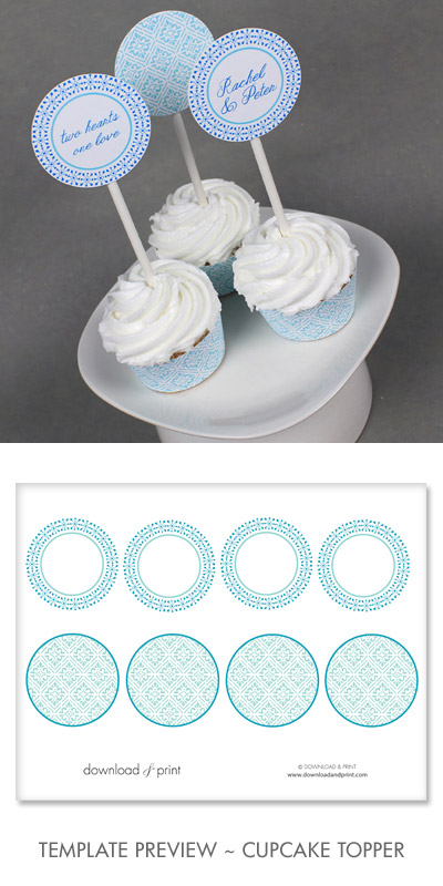 Blue Diamonds Printable Cupcake Topper Template