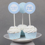 Blue Diamonds Printable Cupcake Wrapper Template