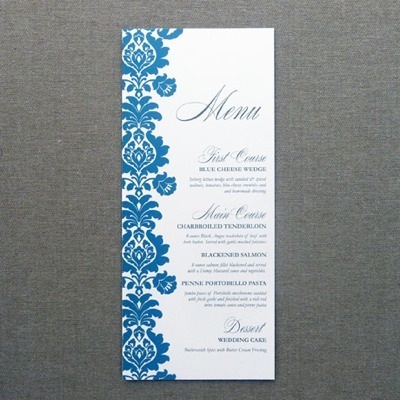 Menu card template rococo design download print for Wedding menu cards templates for free