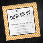 Halloween Invitation Template with Creepy Spider Web