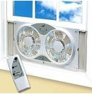 Reversible 9&quot; Twin Window Fan with Remote Control