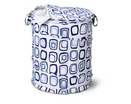 Large Patterned Pop Open Dorm Hamper, Blue Squares