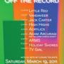  Noise/Racket and Sitcom Serf Present: OFF THE RECORD, a Notxsw Showcase: Little Red, Vandaveer, Jack Carter &amp; More! (Free)