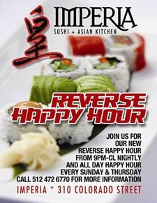 Imperia Reverse Happy Hour All Day: $5 House Martinis, Discounted Lounge Menu Items
