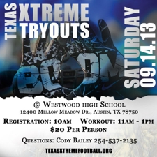 Texas Xtreme Football Open Tryouts at Westwood High School, Austin