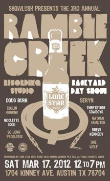 Showlush Presents the 3rd Annual Ramble Creek Backyard Day Show - Seryn, Thriftstore Cowboys, Doug Burr (Free w/ RSVP on Do512!)