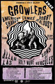 THE GROWLERS, ALLAH LAS, TRMRS, SONS OF HERCULES, BOBBY JEALOUSY!!! FREE!!!