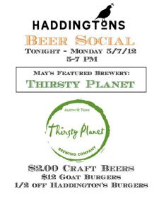 May Beer Social Kickoff Party! Featuring Thirsty Planet!!