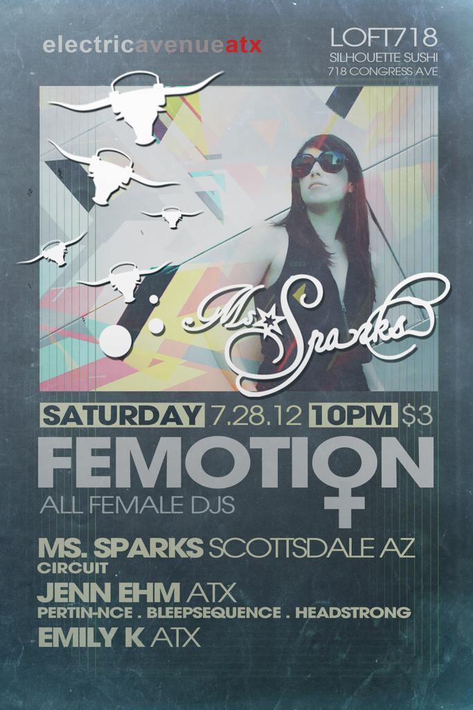 "EAATX resents ""Femotion"" All female DJ monthly at Loft 718"