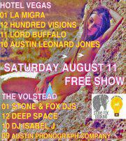 Stone Fox Booking and From the Mind of Adi Present: FREE SHOW at HOTEL VEGAS AND VOLSTEAD! La Migra, Hundred Vissions, Lord Buff