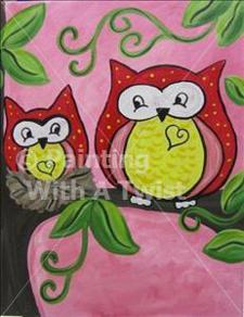 Painting with a Twist &quot;Family Day- Two Hoots&quot;