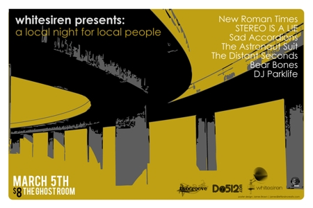 RSVPs CLOSED - whitesiren presents: a local night for local people featuring - New Roman Times / STEREO IS A LIE / Sad Accordion