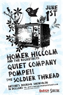 Homer Hiccolm &amp; The Rocketboys w/ Quiet Company, Pompeii, and The Soldier Thread